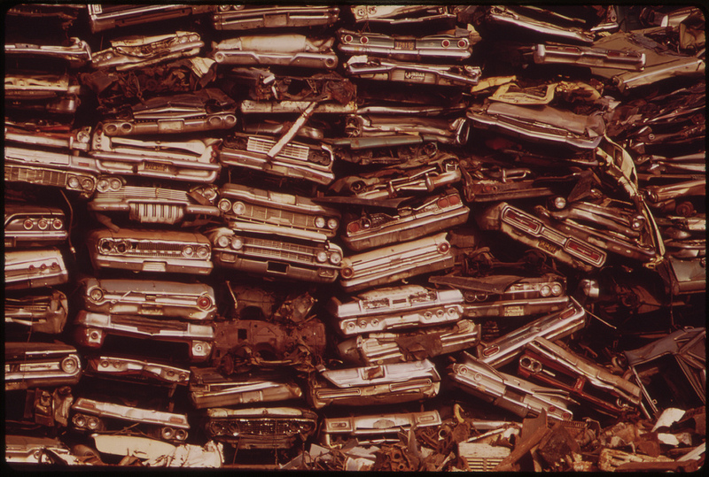 Stacked Cars In City Junkyard Will Be Used For Scrap, August 1973.