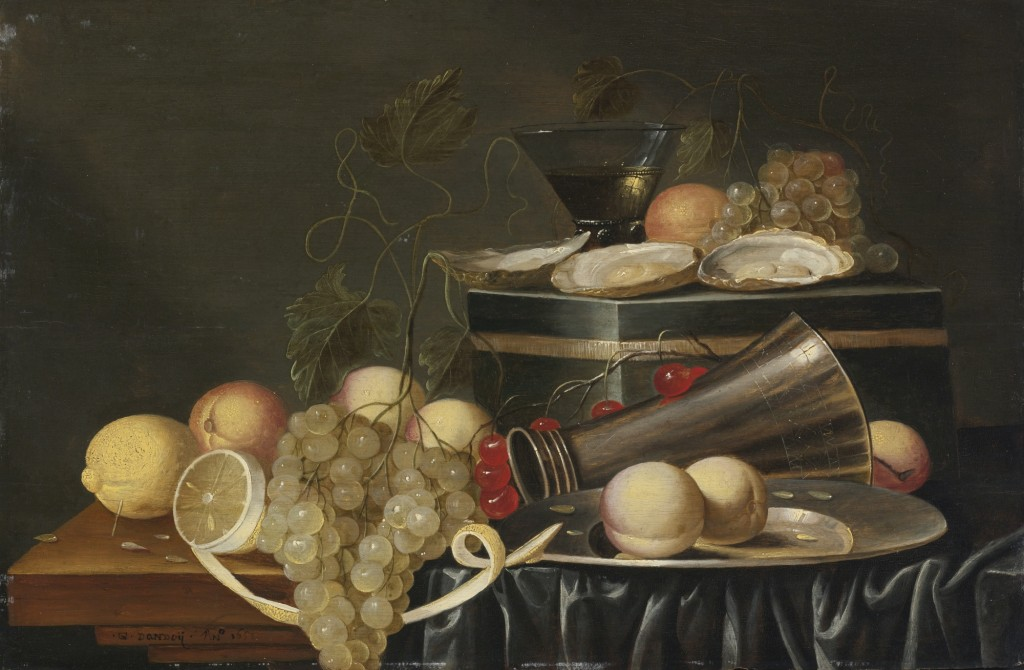 Gilliam_Dandoy_Still_Life_with_Oysters,_Grapes,_Lemons,_Peaches,_and_Cherries