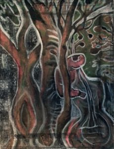 """Man Making Music in the Forest"" by Rebecca Pyle, rebeccapyleartist.wordpress.com"