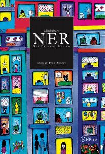 Cover art of NER 41.1, spring 2020. Bright-colored cover art of a hand-drawn apartment building front, with faces of people, pets, and more, all going about their business.